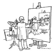 (a cartoon showing an artist painting a never ending series of self portraits)