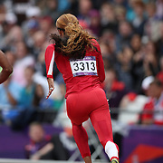 Sanya Richards-Ross, USA, in action during round 1 of the Women's 200m at the Olympic Stadium, Olympic Park, during the London 2012 Olympic games. London, UK. 6th August 2012. Photo Tim Clayton