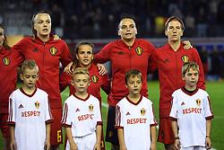 October 5, 2018 - Leuven, Belgique - LEUVEN, BELGIUM - OCTOBER 5 : Team picture of Belgium during the Women's 2019 World Cup Qualifier Group F match between Belgian Red Flames and Switzerland on October 05, 2018 in Leuven, Belgium, 5/10/2018  (Credit Image: © Panoramic via ZUMA Press)
