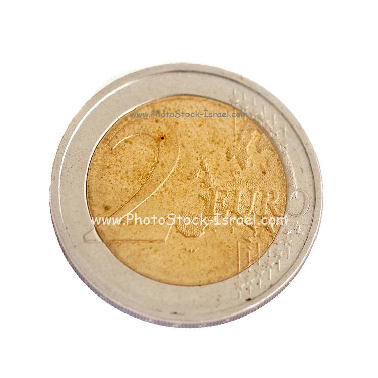 2 Euro coin on white background