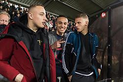 (L-R) Noa Lang of Jong Ajax, Noussair Mazraoui of Jong Ajax, Mitchel Bakker of Jong Ajax during the Jupiler League match between Ajax U23 and MVV Maastricht at De Toekomst on April 28, 2018 in Amsterdam, The Netherlands