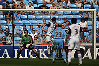 Photo: Rich Eaton.<br /> <br /> Coventry City v Preston North End. Coca Cola Championship. 14/04/2007. David Nugent (2nd left) of Preston heads home his teams second goal  in the first half