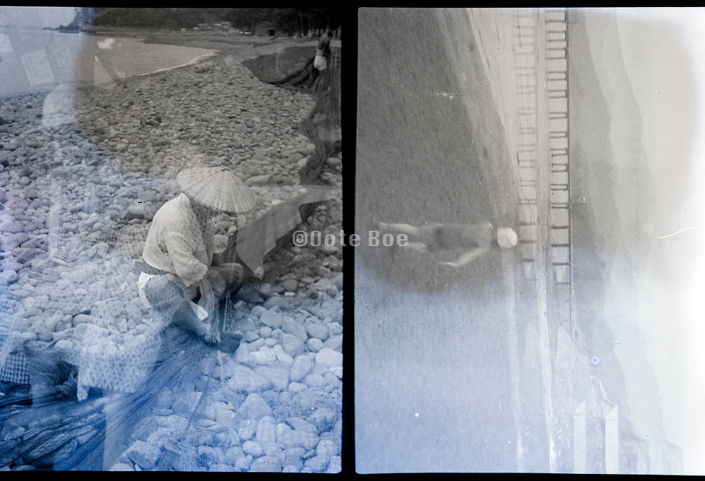 fisherman mending nets and child walking double exposed Japan ca 1940s
