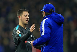 12th December 2017 - Premier League - Huddersfield Town v Chelsea - Eden Hazard of Chelsea shakes hands with Chelsea manager Antonio Conte after being substituted - Photo: Simon Stacpoole / Offside.
