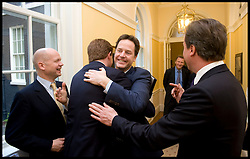 Deputy Prime Minister Nick Clegg hugs  Danny Alexander as he arrives in No10 for the first time as Deputy Leader, Wednesday May 12, 2010. Photo By Andrew Parsons