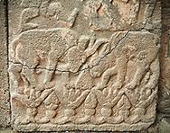 Pictures & images of the North Gate Hittite sculpture stele depicting Hittite cattle fighting. 8th century BC. Karatepe Aslantas Open-Air Museum (Karatepe-Aslantaş Açık Hava Müzesi), Osmaniye Province, Turkey.