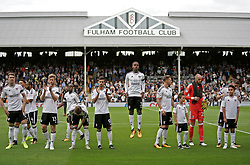 Fulham's Ryan Sessegnon (centre, No 3) lines up with his team mates ahead of the the Sky Bet Championship match against Sheffield Wednesday at Craven Cottage, west London.