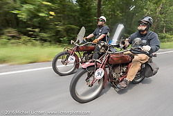 Two Oregoneans on their 1916 Indians. <br /> Clint Funderburg (L) and Rich Rau ride together during the Motorcycle Cannonball Race of the Century. Day-4 ride from Bloomington, IN to Cape Girardeau, MO. USA. Wednesday September 14, 2016. Photography ©2016 Michael Lichter.