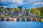 Floating homes on Seattle's Lake Union