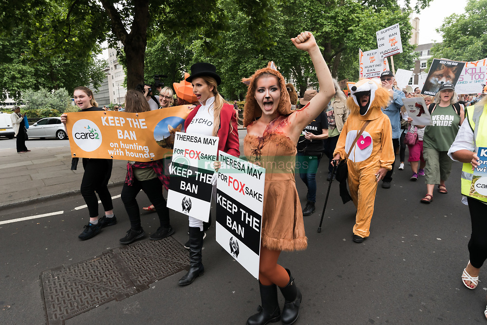 May 29, 2017 - London, UK - London, UK. 29th May 2017. The march by several thousand people through London from a rally in Cavendish Square to another at Downing St begins. They tell Theresa May that the public are against having a vote in Parliament on the fox hunting bill. Polls show that over 80% of the public in city and rural areas are against lifting the ban and many would support stronger measures and proper enforcement of the 2004 ban. Among those who spoke and marched was Prof Andrew King of the Animal Welfare Party who is standing against Theresa May in Maidenhead. Peter Marshall ImagesLive (Credit Image: © Peter Marshall/ImagesLive via ZUMA Wire)