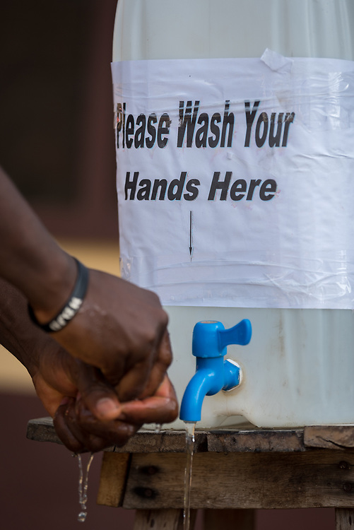 2 November 2019, Ganta, Liberia: Hands are washed as a precaution against Ebola and other tropical diseases. Located in Nimba county, the Ganta United Methodist Hospital serves tens of thousands of patients each year. It is a founding member of the Christian Health Association of Liberia.