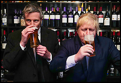 Image ©Licensed to i-Images Picture Agency. 28/04/2016. London, United Kingdom. Zac Goldsmith Campaigning. Conservative Party Mayoral candidate Zac Goldsmith with The London Mayor Boris Johnson at Leadenhall Market. Picture by Andrew Parsons / i-Images
