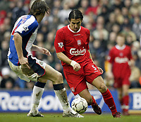 Photo. Aidan Ellis.<br /> Liverpool v Blackburn.<br /> FA Barclaycard Premiership.<br /> 04/04/2004.<br /> Liverpool's Milan Baros and Blackburn's Nils Eric Johansson