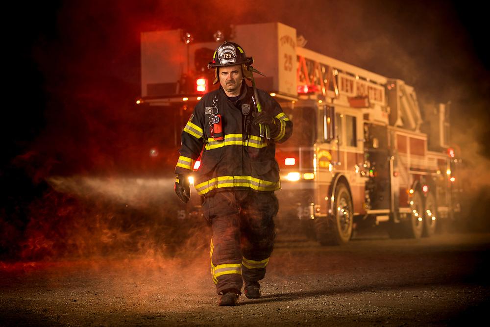 New Holstein, Wisconsin firefighter Scott Schmitt on June 20, 2018 in New Holstein, Wisconsin.
