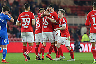Middlesbrough midfielder Lewis Wing (26) celebrates with Middlesbrough midfielder Marcus Tavernier (28) Middlesbrough midfielder Grant Leadbitter (7) and Middlesbrough defender Daniel Ayala (4) after scoring his team's third goa during The FA Cup 3rd round match between Middlesbrough and Peterborough United at the Riverside Stadium, Middlesbrough, England on 5 January 2019.