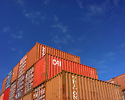 Shipping containers waiting at a transport interchange near Botany Bay, Sydney.