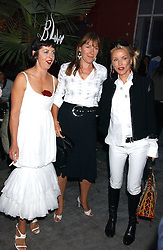 Left to right, ISABELLA BLOW, CHRISTABEL HOLLAND and DAPHNE GUINNESS at the launch of 'Blow Lips' a new lipstick by Isabella Blow and MAC Makeup held at the the Blow de la Barra Gallery, 35 Heddon Street, London on 7th September 2005.<br />