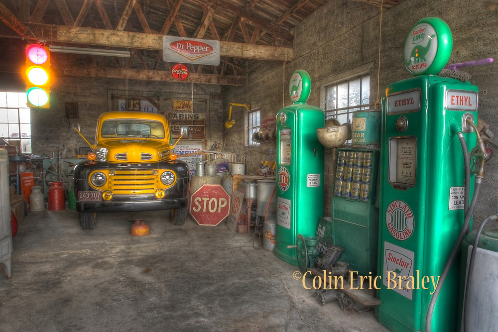 ROUTE 66-MISSOURI- A 1948 Ford F1 truck and vintage Sinclair gas pumps are displayed inside a service garage built in 1926 next door to the restored Gay Parita Sinclair Gas station along Route 66 in Paris Springs, MO. Photo by Colin E Braley