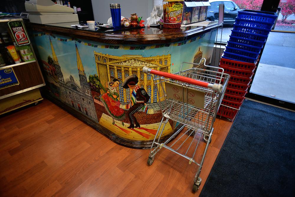 Mural at the checkout counter at San Miguel Latin Market.