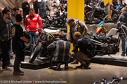Checking out Christian Newman's Knucklehead at the Handbuilt Show. Austin, Texas USA. Saturday, April 13, 2019. Photography ©2019 Michael Lichter.