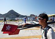 "Rio de Janeiro. BRAZIL. ""Boating Area"" Boat washing,  2016 Olympic Rowing Regatta. Lagoa Stadium,<br /> Copacabana,  ""Olympic Summer Games""<br /> Rodrigo de Freitas Lagoon, Lagoa. Friday  05/08/2016<br /> [Mandatory Credit; Peter SPURRIER/Intersport Images]"
