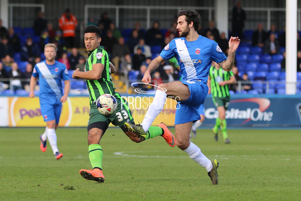 Lyle Taylor forward for AFC Wimbledon (33) in action during the Sky Bet League 2 match between Hartlepool United and AFC Wimbledon at Victoria Park, Hartlepool, England on 25 March 2016. Photo by Stuart Butcher.