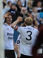 Tippeligaen Rosenborg - Hønefoss 16 mai  2010<br /> Lerkendal Stadion, Trondheim<br /> <br /> Mikael Lustig har scoret 2-0 for Rosenborg og jubler her sammen med Mikael Dorsin<br /> <br /> <br /> Foto : Arve Johnsen, Digitalsport