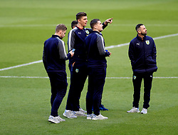 Burnley's Nick Pope (second left), Sam Vokes (second right) and Steven Defour on the pitch before kick-off
