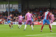 Scunthorpe United midfielder Ryan Colclough (49)  scores goal to go 2-0 during the EFL Sky Bet League 1 match between Scunthorpe United and Rochdale at Glanford Park, Scunthorpe, England on 8 September 2018. Photo Ian Lyall
