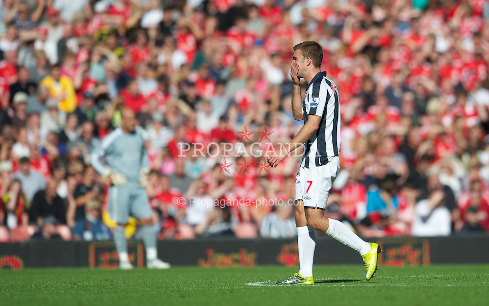 LIVERPOOL, ENGLAND - Sunday, August 29, 2010: West Bromwich Albion's James Morrison leaves the field after being shown the red card and sent off by referee Lee Probert during the Premiership match at Anfield. (Photo by David Rawcliffe/Propaganda)