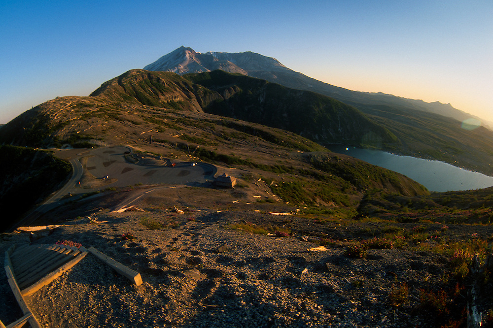 Sand Ladder at Windy Ridge with Spirit Lake and Mt. St. Helens (Fisheye), Mt. St. Helens National Volcanic Monument, Washington, US