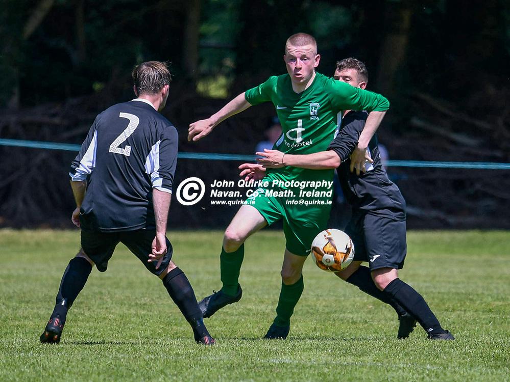 Luke Jenkins (Duleek) is under pressure,  during the Trim Celtic v Duleek, NEFL (Premier) match in Tully Park, Trim.<br /> <br /> Photo: GERRY SHANAHAN-WWW.QUIRKE.IE<br /> <br /> 18-07-2021