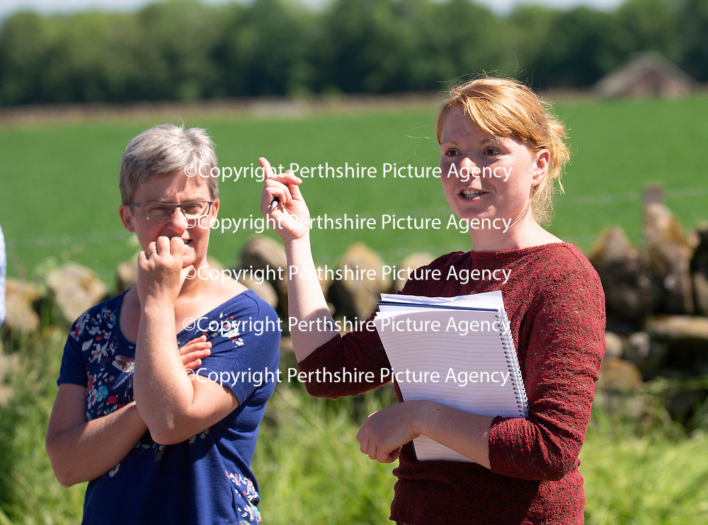 Quality Meat Scotland (QMS) Better Grazing meeting at Newmiln Farm, Tibbermore, Perth<br />Poppy Frater from SAC (right) pictured with Emily Grant from QMS<br />Picture by Graeme Hart.<br />Copyright Perthshire Picture Agency<br />Tel: 01738 623350  Mobile: 07990 594431