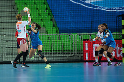 Maja Lukovic of Krim and Breivang  K.D. of Larvik during handball match between RK Krim Mercator (SLO) and Larvik (NOR) in 3rd Round of Women's EHF Champions League 2015/16, on October 30, 2015 in Arena Stozice, Ljubljana, Slovenia. Photo by Grega Valancic / Sportida