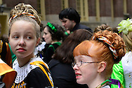 March 16, 2013 - New York, NY, U.S. - Girls in Irish Dance group getting ready to march in the 252nd annual NYC St. Patrick's Day Parade.