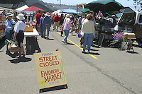 A farmers market in Fort Bragg, California and some of the produce in the market