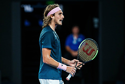 January 24, 2019 - Melbourne, VIC, U.S. - MELBOURNE, VIC - JANUARY 24: STEFANOS TSITSIPAS (GRE) during day eleven match of the 2019 Australian Open on January 24, 2019 at Melbourne Park Tennis Centre Melbourne, Australia (Photo by Chaz Niell/Icon Sportswire (Credit Image: © Chaz Niell/Icon SMI via ZUMA Press)