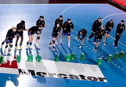 Players of Krim before 3rd Main Round of Women Champions League handball match between RK Krim Mercator, Ljubljana and Larvik HK, Norway on February 19, 2010 in Arena Kodeljevo, Ljubljana, Slovenia. Larvik defeated Krim 34-30. (Photo by Vid Ponikvar / Sportida)