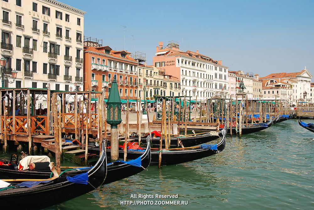 Gondolas  in Venice canal (Italy)