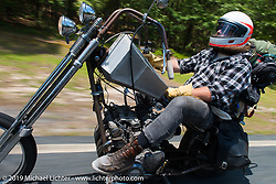 """Coast-to-coast """"Stampeder"""" Caleb Johnson takes a ride Saturday morning during the Smokeout. Rockingham, NC. USA. June 20, 2015.  Photography ©2015 Michael Lichter."""