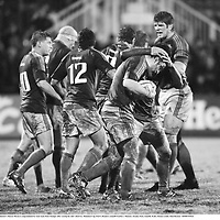 8 December 2007; Munster's Marcus Horan is congratulated by team-mate Peter Stringer after scoring his side's third try. Heineken Cup, Pool 5, Round 3, Llanelli Scarlets v Munster, Stradey Park, Llanelli, Wales. Picture credit; Matt Browne / SPORTSFILE