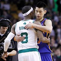 04 March 2012: New York Knicks point guard Jeremy Lin (17) and Boston Celtics point guard Rajon Rondo (9) are seen during the Boston Celtics 115-111 (OT) victory over the New York Knicks at the TD Garden, Boston, Massachusetts, USA.