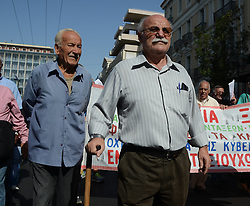 October 3, 2016 - Athens, Greece - Greek pensioners demonstrate in Athens against the goverment cuts on pensions and their benefits in General. Demonstrators clashed with riot policve after they found the road to Prime Ministers office closed by police. (Credit Image: © George Panagakis/Pacific Press via ZUMA Wire)
