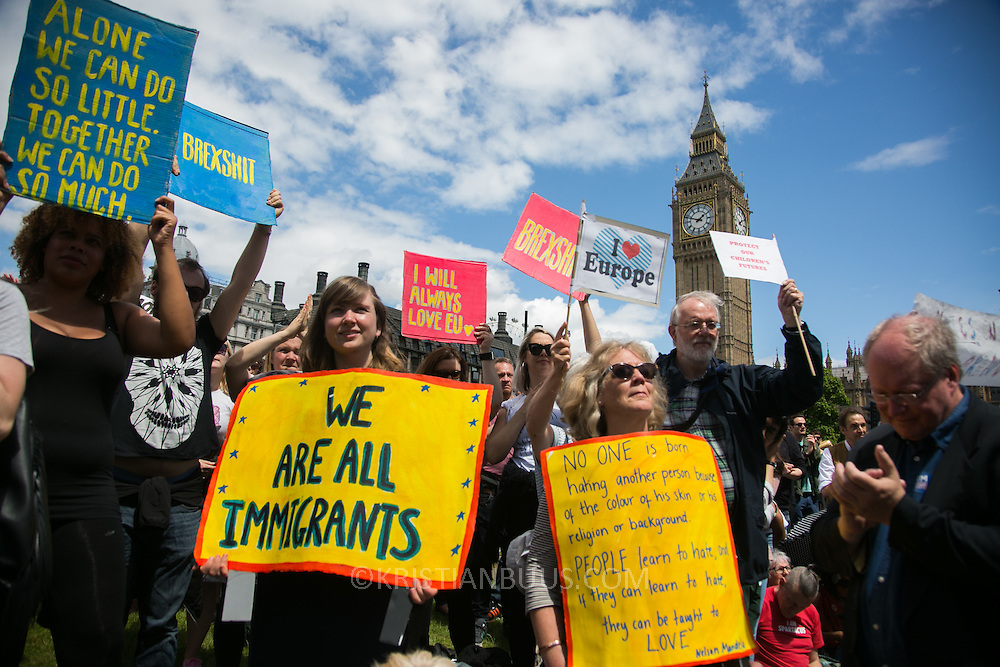 Anti-Brexit march and rally 2nd of July in London, United Kingdom. 48 percent of voters wanted to stay n the EU and now feel disenfranchised and cheated on and many want a second referendum. The rally at Parliament Square.