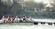 Putney. London. Veterens' Boat Race, Friday. Tideway Week, build up to the  2011 University Boat Race over parts of the Championship Course - Putney to Mortlake. Friday  25/03/2011 [Mandatory Credit; Peter Spurrier/Intersport-images]..OUBC. Bow Hugh PELHAM, Joe MICHEALS, Kingsley POLE, Jeremy HOWICK, Sir Matthews PINSENT, Jonny SEARLE stroke Rupert OBHOLZER and cox Martin WATTS...CUBC. Bow. Neil WEST, Sean GORVY, Peter JACOBS, Guy POOLEY, Graham SMITH, Matt PARRISH, Richard SMITH, Stroke Marc WEBER, cox Kevin WHYMAN 2011 Tideway Week