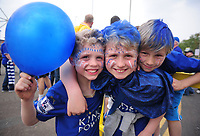 Football - 2015 / 2016 Premier League - Leicester City vs. Everton<br /> <br /> Young Leicester City fans with painted faces at the King Power Stadium.<br /> <br /> COLORSPORT/ANDREW COWIE