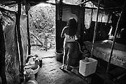 French guiana, approuague.<br /> <br /> Orpaillage clandestin bresilien, camp de base.