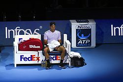 November 18, 2017 - London, England, United Kingdom - Roger Federer of Switzerland shows his dejection during his three set defeat by David Goffin of Belgium in their semi final match the Nitto ATP World Tour Finals at O2 Arena on November 18, 2017 in London, England. (Credit Image: © Alberto Pezzali/NurPhoto via ZUMA Press)