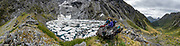 The Gillespie Pass Circuit follows the Young and Wilkin Rivers in Mount Aspiring National Park, in the Southern Alps. Makarora, Otago region, South Island of New Zealand. This image was stitched from multiple overlapping photos.