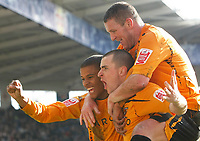 Photo: Steve Bond/Richard Lane Photography. <br />Leicester City v Hull City. Coca Cola Championship. 21/03/2008. Scorer Dean Marney (C) celebrates with Dean Windass (R) and Fraizer Campbell (L)